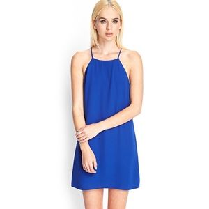 Royal Blue Halter Neck Cami Shift Slip Mini Dress